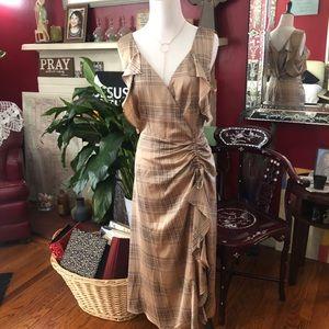 Glen Plaid Stripe Cold Shoulder Dress